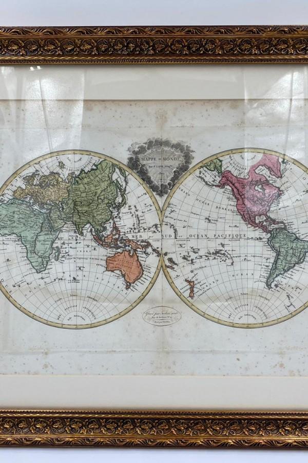 Dünya Haritası Elle Renklendirilmiş 1809 Tarihli